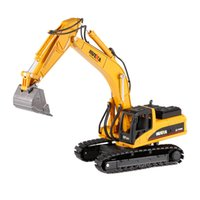 1711 1:50 Drill Excavator Engineering Vehicle with Metal Alloy Breaking Hammer / Articulated DumpTruck Car Model Toys