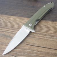 Y-START LK5008-GR Couteau Pliant Tactique Survie En Plein Air Camping Bushcraft Couteau de Poche Doublure Serrure 9Cr18MoV Vert G10 Roulement Palier