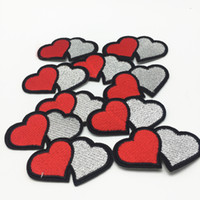 10pcs Double Hearts Silver Embroidered Patches Iron on Sewin...