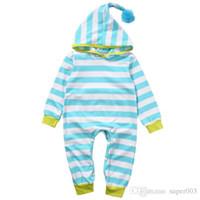 Neugeborenes Baby-Mädchen kleidet langärmligen gestreiften Spielanzug mit Kapuze Overall Outfits Playsuit