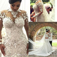 2018 Abiti da sposa Sheer a maniche lunghe di lusso Illusion Nigeria Collo alto Appliqued in rilievo Dubai Arab Castle Mermaid Abiti da sposa BA7687