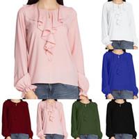 Frauen Chiffon Bluse Shirts Solide Rüschen Gefaltete Taste Sommer Herbst O Neck Langarm Casual Plus Größe S-5XL European Fashion Tops