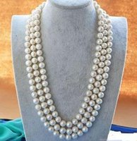 ELEGANT 8-9MM WHITE AKOYA PEARL NECKLACE LONG 49 INCHE 925 SILVER CLASP