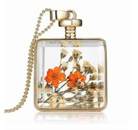 Fashion Photo Glass Cabochons Collar Herbarium Medio ambiente - Friendly Flower Secado Floja True Flor Locket Glass Plaza Colgante Colgante