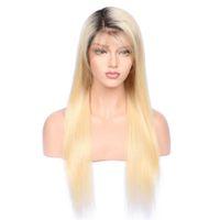 1bT # 613 Glueless Volle Spitze Echthaarperücke mit Babyhaar Vorgezupft 150 Dichte Brasilianisches Remy Haar Ombre Blonde Echthaarperücken