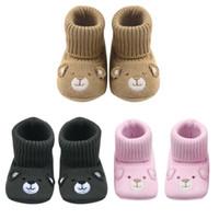 Вязание крючком Вязание шерсть Детская обувь малышей дети нескользящей мягкой подошвой Обувь для ходьбы младенческой осень зима теплая первые ходунки
