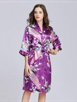 9a4df5b417 Wholesale satin kimono dressing gown for sale - PURPLE Women plain Silk  Satin Robes Bridal Wedding