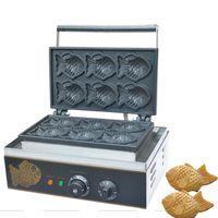 Qihang üst Ticari Kullanım Yapışmaz 110 v 220 v Elektrikli 6 adet Mini Balık Waffle Taiyaki Baker Makinesi Maker Plaka