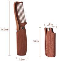 Мужчины складные бороды гребень деревянные массажные волосы кисти гребень складной для бороды для волос инструмент для укладки волос длинная ручка тонкой зубной древесины