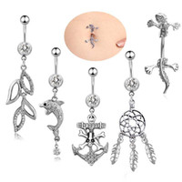 Edelstahl Bauch Baumeln Ring Delphin Bell Button Navel Ringe Einfache Design Strass Körper Piercing Modeschmuck Großhandel
