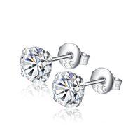 6mm öron örhängen för kvinnor 4 färger rund med kubisk zirkon charm blomma studs örhängen mode smycken gåva diamant öron