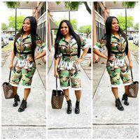 America Independence Day Camo Wadenlangen Overall Frauen Mädchen Brief JUNKIE Reißverschluss Tasche Overalls V-Ausschnitt Camouflage Strampler Leggings Verkauf