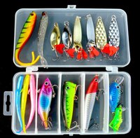 17 Pieces Fishing Lure Kit Soft Fish Bait Spoons VIB Minnow ...