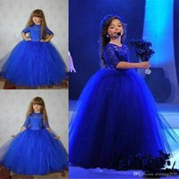 Bleu royal robe de bal robe fille fleur robes demi-manche en dentelle Appliques Tulle doux enfants tenue de soirée Pageant robes