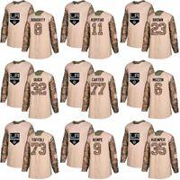 2018 카모 참전 용사의 날 77 제프 카터 15 Andy Andreoff 19 Alex Iafallo 11 Anze Kopitar 로스 앤젤레스 킹스 커스텀 하키 유니폼