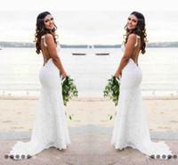 2020 Vintage mariage de plage robes sirène bretelles spaghetti balayage train robes de mariée avec la pleine dentelle Backless Robes de mariée