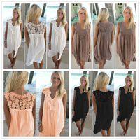 Boho Stil Kadın Dantel Elbise Yaz Gevşek Rahat Plaj Mini Salıncak Elbise tek parça playsuits Şifon Bikini Cover Up Güneş Elbise M171