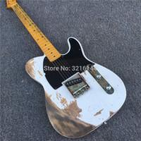 Personalización manual, guitarras eléctricas TL, antigüedades, blanco antiguo, fotos reales, venta al por mayor de fábrica
