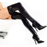 Sexy Black PU Leather Thigh High Latex Stockings Women Lace ...