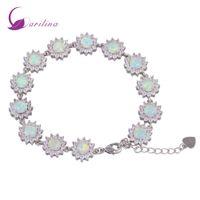 Глэм Люкс таинственный стерлингового серебра 925 наложения CZ Белый Огненный опал браслеты для девочек-подростков 22 см 8,85 дюйма B461