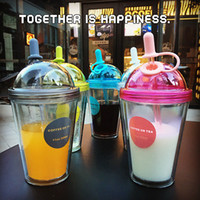 320 ml 11 OZ Color Double Layers Straw Bottle Plastic Cup wi...