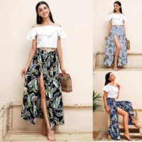 floral printed long skirts Women split maxi skirt leaf print...