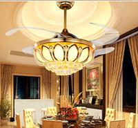 Modern 42 polegada discrição lâmina super silencioso ventilador de cristal de luz da lâmpada do ventilador do teto Vogue lâmpada de ventilador de controle remoto sem fio