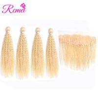 Rcmei 613 Rubio Kinky Cruly frontal de encaje con paquetes de cabello humano brasileño Remy 4 paquetes con 13x4 Frontal pre-desplumado envío gratuito