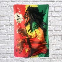 Bob Marley Drapeau Bannière Polyester 144 * 96cm Accrocher au mur 4 œillets Drapeau Personnalisé Intérieur Musique Rock
