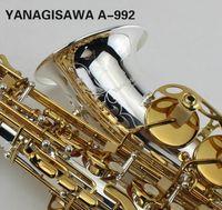 ياناجيساوا A-992 Eb Tune Alto Saxophone مطلي بالفضة والجسم مطلي بالذهب رائعة رائعة منحوتة الآلات الموسيقية المهنية ساكس