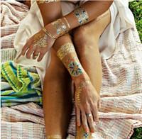 Yeni Trendy Renk tüyler Jewel Vücut boyama Metalik Dövmeler Kına yapıştır Arapça Altın Flaş vücut boya Glitter