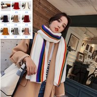 2018 Women Thick Solid Scarf Warm Winter Scarves Rainbow Kni...