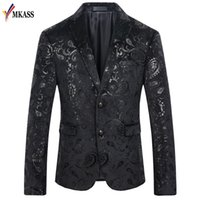 Erkek Takım Elbise Blazers Mkass Çiçek Blazer Erkekler 2021 Bahar Erkek Kadife 4XL Düğün Balo Parti Takım Elbise Ceket