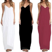 Women Long Beach Maxi Dresses Summer Spaghetti Strap Dress L...