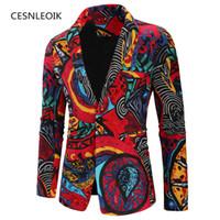 Herrenanzüge Blazer Herbst Blazer Masculino 2021 Mode Print Slim Fit Männer Langarm One Button Business Kleid Jacke Plus Größe