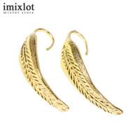 Imixlot 1pair Punk Leaf Ear Cuff Wrap Earrings No Pierced Clip Earrings Ear Cuff For Women Gold Fashion Jewelry Earring