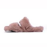 Krazing pot 2018 lapin en fourrure de cristal boucle marque chaussures appartements grande taille femmes peep toe sandales printemps chaud en dehors des pantoufles L80