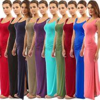 высокое качество макси платье женская одежда летняя одежда длинный жилет танк один шаг юбки пуловер U scoop шеи без рукавов тонкий леди платья