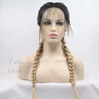Blond mit dunkler Wurzel Doppelzopf Synthetische geflochtene Perücke mit Babyhaarperücke Hitzebeständige Faser Mittelteil