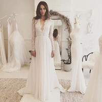 Elegant V- Neck Long Sleeve Beach Wedding Dresses Appliques L...