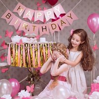 6 Styles Glitter Paper Happy Birthday Bunting Banner Lettera Hanging Ghirlande Pink String Flags Baby Shower Decorazioni per feste di compleanno