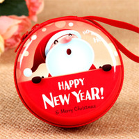 Nuovo Natale Babbo Natale Round Gift Boxes Xmas Gift Zipper Portamonete Key Wallet Pouch Bag Red Hanging Decoration