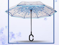 freeshippingTransparent inversée Umbrella Forme Femmes voiture manche longue Inverted parapluie Creative double couche inversée Umbrella-212 ZI
