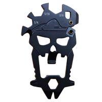 Extérieur Crâne multifonctionnel Combinaison outil bouteille multi-fonction Ouvre tournevis Couteaux clé Sharpen Carabiner