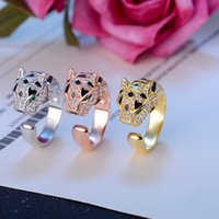 Top Brand Design Leopard Rings For Men Luxury Gold Plated An...