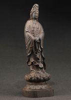 الصين SUPERB BIG الديكور اليدوى قديم خشب الأبنوس منحوتة KWAN- يين تمثال رائع