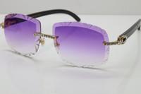 جديد كبير الحجارة طبعة محدودة الطبعة T8200762 نظارات الساخنة للجنسين الأسود الجاموس القرن النظارات الشمسية بدون شفة منحوتة عدسة نظارات الحجم: 61 الذهب البني الفضة