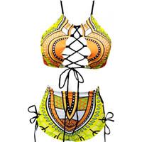 Mujer traje de baño traje de baño dama bikini femme trajes de dos piezas sexy alta cintura frenulum impresión de gran tamaño vendaje 25ym v