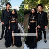 2018 Sexy Black Two Pieces Prom Dresses Sheer Long Sleeves H...