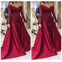 2021 sheer mangas compridas Borgonha sereia vestidos de noite vestidos de renda lantejoulas vestido de baile vestido destacável de cetim vestidos de ocasião especial